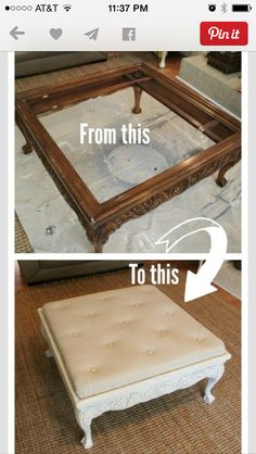 DIY Furniture Refinishing Tips - Thrift Store Coffee Table Turned Tufted Ottoman DIY - Creative Ways to Redo Furniture With Paint and DIY Project Techniques - Awesome Dressers, Kitchen Cabinets, Tables and Beds - Rustic and Distressed Looks Made Easy With Refurbished Furniture, Repurposed Furniture, Furniture Makeover, Furniture Refinishing, Vintage Furniture, Rustic Furniture, Ottoman Furniture, Kitchen Furniture, Bedroom Furniture
