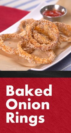 Crispy Oven-Baked Onion Rings | Who doesn't love an onion ring?! Here's a healthier version that's baked, not fried, that you can make right at home. Serve as an appetizer, a side dish or a topping for your burger. Click for the video and how-to and give it a try! #familydinner #homecooking #easyrecipes #sides #apps