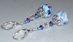 Blue & Purple Crystal and Lampwork Glass Bead by mommazart on Etsy, $14.00