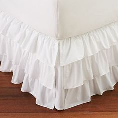 WHITE Split Corner Ruffle Layered Bed Skirt Cotton Poplin Sheer Ruffles - Custom Bedskirts -