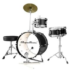 Spectrum AIL 662BK Three Piece Junior Drum Kit, Midnight Black by Spectrum. $129.99. Spectrum AIL 662BK Three Piece Junior Drum Set with 10-Inch Crash Cymbal & Drum Throne. Set includes Bass Drum with Clear Drum Head, Tom Tom Drum & Snare Drum all of 6-Ply Birchwood Construction with Durable PVC Midnight Black Finish. Also includes Crash Cymbal with Stand, Chain Driven Bass Drum Pedal and Adjustable Drum Throne. All Stands & Throne have non-skid Rubber Feet. Adult ...