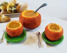 Miniature Pumpkin Soup Set with Green Plates -  1:6 Scale Polymer Clay Food Miniatures for Fashion Dolls and Figures