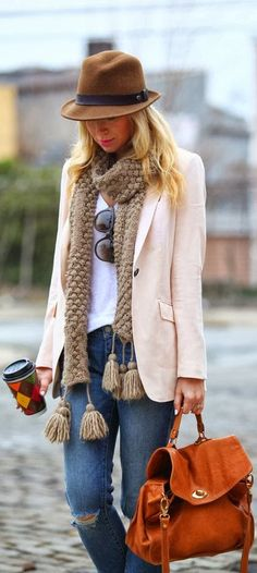 Gorgeous colorful fall fashion with denim, scarf, hat and blazer