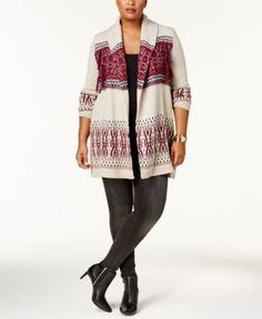 Style & Co Plus Size Printed Open-Front Cardigan, Created for Macy's - Tan/Beige 3X