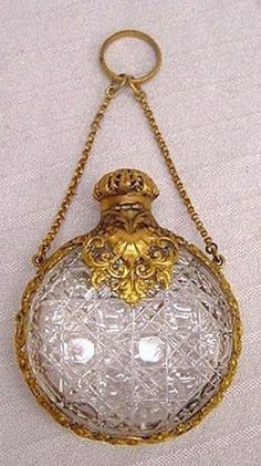 "Antique Cut Glass Perfume Flask with Filigreed Gold Ormolu Mounts on Finger Ring or Chatelaine Chain. 2-5/8"" http://tri-stateantiques.com"