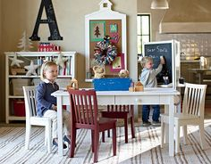 I love the Pottery Barn Kids Carolina Grow With Me Playroom on potterybarnkids.com.   The table comes with two sets of legs so it can be a craft play table for when they're little and then turns into a desk when they get into their teens. :-D