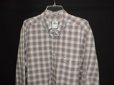 Lacoste Authentic Designer Button Front Flip Pocket Brown Plaid Shirt SZ 45 Mint #Lacoste #ButtonFront
