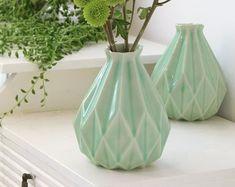 Holidays giftGeometric vase Light blue ceramic Origami