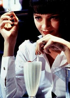 Pulp Fiction Uma Thurman In Diner iconic scene with milkshake Poster 90s Movies, Movie Tv, Uma Thurman Young, Film Pulp Fiction, Friday Film, Women Smoking, Hollywood Star, Pet Store, Album Covers