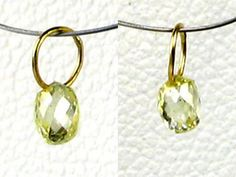 One bead of NATURAL Canary CONFLICT FREE Diamond & 18K GOLD PENDANT .25cts 8798K - Premium Bead