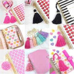 Valentine dashboards, tassels, bookmarks, pom poms are here!  Tassel Extended Keychains are selling quick and perfect for A5 or zip-around planners! Coupon code PLANNERTASSEL for 15% off your $5.00 min order!