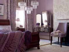purple and grey bedroom ideas, I love this whole room, especially the bedspread.
