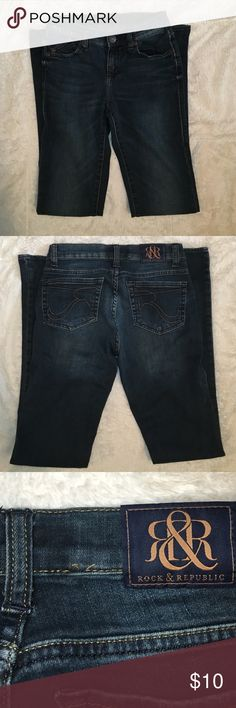 Rock & Republic Bootcut Jeans Dark wash Bootcut denim. Worn only a handful of times. Small flaw in stitching on back waistband, otherwise in great condition! Rock & Republic Jeans Boot Cut