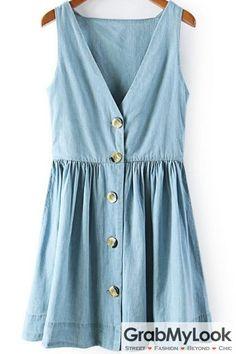 GrabMyLook Blue Denim Sleeveless V Neck Button Up Dress