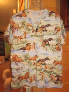 Women's MEDIUM Wild Running Horses Scrub Top by Peaches #Peaches