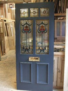 Art Nouveau stained glass door front door with mail slot! but the kind that bas the catch on the back side Front Door Entrance, House Front Door, Front Door Colors, Glass Front Door, Entry Doors, Glass Doors, Front Entry, Doorway, Front Porch