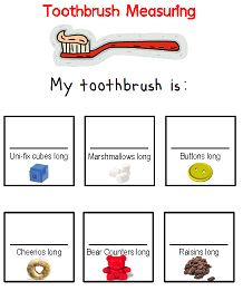 February is National Children's Dental Health Month Toothbrush Measuring printable for Preschool - great for Dental Health Month Dental Health Month, Oral Health, Dental Hygiene, Dental Care, Preschool Themes, Preschool Activities, Health Unit, Health Activities, Student Teaching