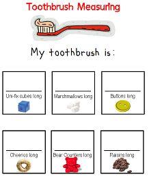 Toothbrush Measuring printable for Preschool - great for Dental Health Month