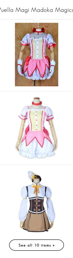 """""""Puella Magi Madoka Magica"""" by sapphirejones ❤ liked on Polyvore featuring costumes, cosplay costumes, puella, role play costumes, star costume, cosplay halloween costumes, dresses, pink, anime and jewelry"""