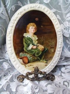 Antique Three Crown West Germany Hand Painted Tea Tile- Artist Signed & Numbered- Vivid Colors- Unique Subject- Child Blowing Bubbles