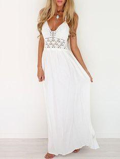 Shop Beach Dresses - White Halter Solid Casual Paneled Maxi Dress online. Discover unique designers fashion at JustFashionNow.com.