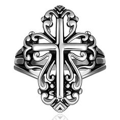 Stainless Steel Hollow Cross Silver Black Biker Ring For Women or Men, Size 8, Rock Gothic Punk Style. Stainless Steel Hollow Cross Silver Black Biker Ring For Women or Men, Size 8, Rock Gothic Punk Style. Model: GMYR031-8. Fit For: Man,Woman,Boy,Girl. Occasion: Party,Gifts. Size: 8, Weight: 6.2g, Package: Opp Bag.