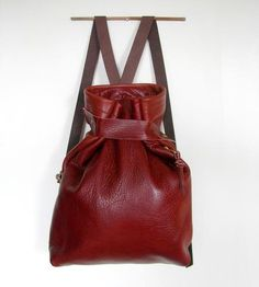 Red Leather Rucksack by Rare Bird on Scoutmob Shoppe