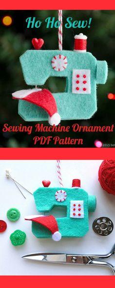 Ho Ho Sew! Sewing Machine Ornament PDF PATTERN #christmasornament #sewingmachine #ad
