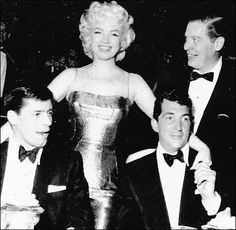 Jerry Lewis, Marilyn Monroe, Dean Martin and Milton Berle at the Friars Dinner in honor of Martin and Lewis, 1955.
