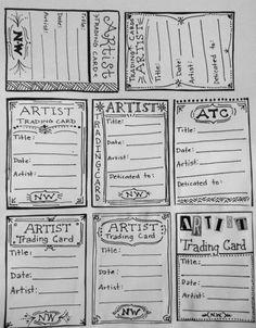 Free Trading Card Template Fresh Artist Trading Card Template for Back Of atc S Trading Card Template, Card Templates Printable, Art Trading Cards, Printables, Kirigami, Atc Cards, Bingo Cards, Card Card, Artist Card