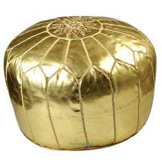Moroccan Pouf Gold Ski Leather Pouf Ottoman by MarrakeshStyle, $85.00