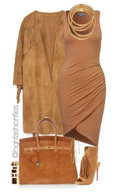 """Suede and Fringe"" by highfashionfiles on Polyvore featuring Zara, Hermès, Christian Louboutin, Boohoo and Jennifer Meyer Jewelry"