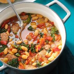 Italian Sausage Kale Soup, it's like a healthy Zuppa Toscana from Olive Garden, and not gross cause it's not from Olive Garden :)