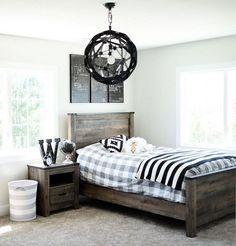 The paint color here is Behr Silver Drop. Kids Bedroom Paint, Painted Bedroom Furniture, Boys Bedroom Decor, Farmhouse Bedroom Decor, Bedroom Paint Colors, Kitchen Furniture, Furniture Stores, Cheap Furniture, Trendy Bedroom
