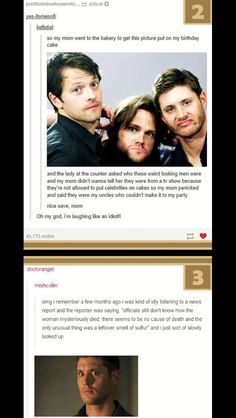 #wattpad #random This book is hotter than Mary Winchester's ceiling fire... (I'm sorry, too soon?) If you like supernatural and you like to laugh, you should read this. Includes tumblr posts, memes, and other assorted spn jokes.  **** I OWN NO MEMES, PICS OR GIFS THAT I POST**** If you want to, you can check out my...