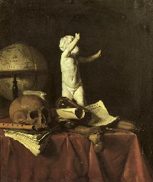 Johannes Fris (1627/28-1672) A 'vanitas' with a sculpture of a putto, a globe, a skull, a bone, an hourglass, a flute and books on a draped table - Painting