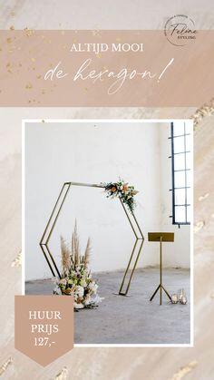 Huur gouden hexagon backdrop wedding. Een tof element voor je bruiloft. Klik op de afbeelding voor meer informatie.