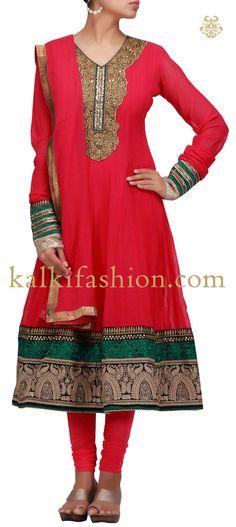 Buy it now http://www.kalkifashion.com/anarkali-dress-in-rani-pink-with-zari-and-zardosi-work.html Anarkali dress in rani pink with zari and zardosi
