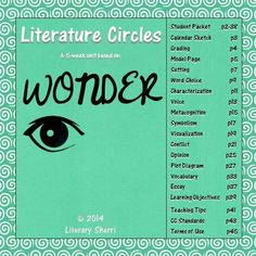 """Literature Circle Packet for """"Wonder"""" by R.J. Palacio. If your class isn't reading """"Wonder"""" it is an absolute must to include this year! This 5-week packet fosters close reading, critical thinking, and meaningful writing by pushing students to move beyond comprehension and delve deeply into understanding, applying, analyzing, and evaluating. """"Wonder"""" is a high-interest, low-readability book that engages teens and keeps them reading!"""