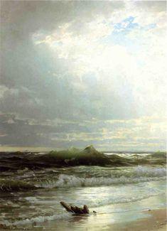 """William Trost Richards (1833-1905, United States) ~ """"Sur la Côte"""" ~ Huile sur toile 1889"""