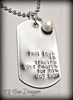 trading pearls for dog tags. military sweetie, wife girlfriend necklace, military jewelry