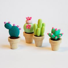 Clay cacti...I wouldn't be able to manage to kill these! @Pamela Culligan Culligan Hichens Miller
