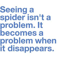 So damn true...currently the situation at hand. I hate spiders so so so bad.