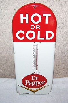 Dr Pepper Antique Thermometer  (Vintage Soda Thermometers, Hot or Cold)