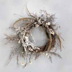 Ramping up for wreath season, admittedly one of my favorites. I'm selling all dried wreaths like this winter white one here and a handful of fresh ones. Email or DM if interested! . . . . #wreathseason #wreaths #driedflowerwreaths #driedwreaths