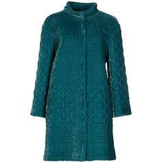 Alberta Ferretti Coat (£502) ❤ liked on Polyvore featuring outerwear, coats, emerald green, blue velvet coat, alberta ferretti coat, turtleneck top, blue coat and alberta ferretti