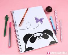 Caderno de panda lindo fofo kawaii cute butterfly borboleta volta as aulas back to school Bullet Journal School, Bullet Journal Art, Bullet Journal Ideas Pages, Diy Notebook Cover, Front Page Design, Page Borders Design, Cool Notebooks, Cute School Supplies, Fathers Day Crafts