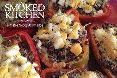 Receta pimentones rellenos al horno con carne molida, alcaparras y tomates secos ahumados Smoked Kitchen en conserva, deliciosos fáciles de preparar