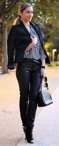 Similar shoes check, leather pants check, blazer check...all i need is striped top....:)