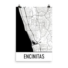 Encinitas Map Art Print, Encinitas California Art Poster, Encinitas Wall Art, Map of Encinitas CA, Encinitas Print, Modern, Art, Gift